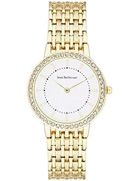 Jean Bellecour–reds15–Sophie Damen-Armbanduhr 045J699Analog weiß–Armband Gold Gelb Gold