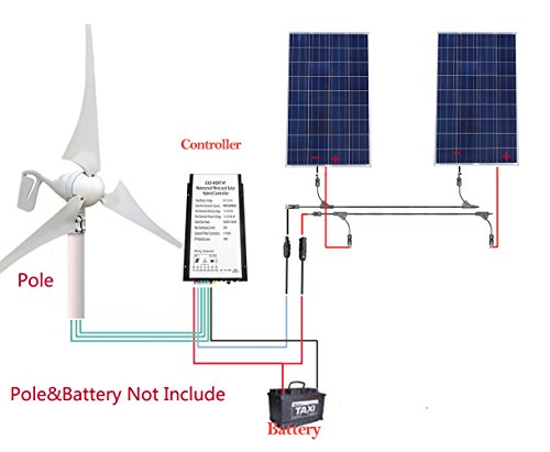 Get 12V/24V 600W Off Grid Wind Solar Power Supply System:1pc 400W Wind  Turbine Generator + 2pcs 100W Poly Solar Panels + 20A Hybird Charge  Controller
