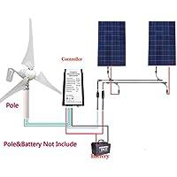 12 V/24 V 600 W Off Grid viento Solar sistema de suministro de energía eléctrica: 1pieza 400 W viento generador de turbina + 2pcs 100 W Poly paneles solares ...