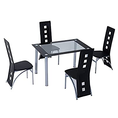 HOMCOM 5 pcs Dining Room 4 Chairs + 1 Glass Top Table Set Modern Kitchen Furniture Black - low-cost UK light store.