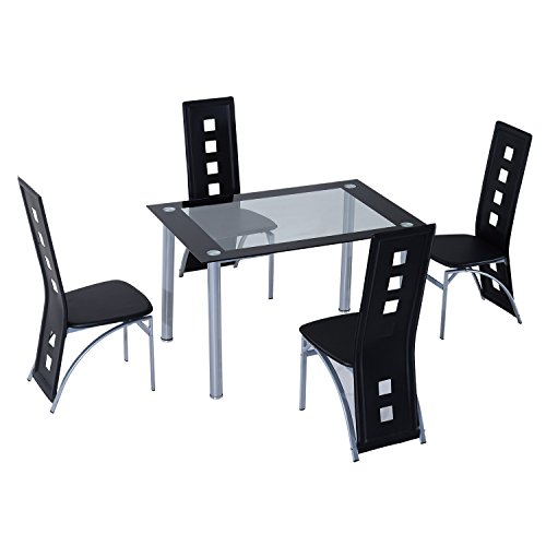 homcom-5-pcs-dining-room-4-chairs-1-glass-top-table-set-modern-kitchen-furniture-black