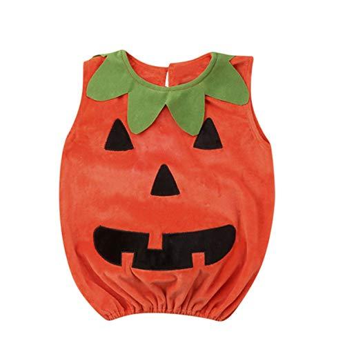 Yanhoo neonato ragazza ragazzo set per vestiti di halloween per bambini appena nati,(12m-3anni) bambino senza maniche zucca smorfia halloween vest + hat set