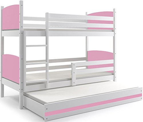 Interbeds Cama litera Triple, Tami, para niños y niñas, para colchones 190X80, (colchones,somieres y cajón Gratis), Color Blanco, los Paneles (Rosa)