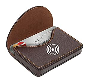 NISUN RFID Blocking Leather Pocket Sized Credit Card Holder Name Card Case Wallet with Magnetic Shut for Men & Women - Brown