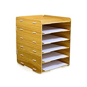 ZHAO ZHANQIANG Office supplies book desktop large a4 paper folder storage box multi-layer function wood classification shelf, (Color : WY109)   6