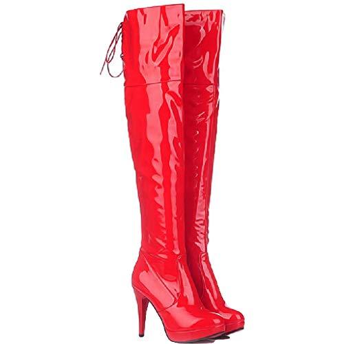 SDSDCC boots Damen High Heel Plateau Overknee Stiefel Stiletto PU Leder Elastischer Stretch Overknee Schuhe Hohe Stiefel zum Anziehen Rot Schwarz Weiß,Red-4UK/35EU -