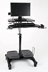 Height Adjustable Mobile Computer Standing Desk Cart Office Business Desk