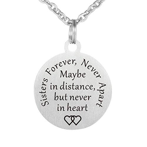 Distance Edelstahl-Hundemarke, als Schlüsselanhänger oder Halskette, bestes Geschenk für Schwester, beste Freunde, Geburtstag Weihnachten