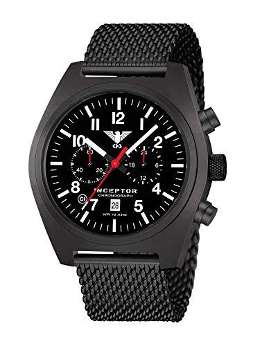 KHS Inceptor KHS.INCBSC.MB - Cronografo in acciaio con cinturino a maglia, colore: Nero