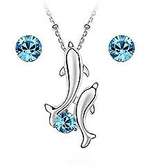 Idea Regalo - Crystals from Swarovski Delfini Purare Blu Acquamarina simulato Collana con ciondolo 45 cm Orecchini 18 kt placcato oro bianco
