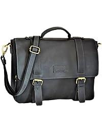 Menzo Stanford Aktentasche aus echten Leder für Damen und Herren, Umhängetasche, Vintage Messenger bag, Lehrertasche