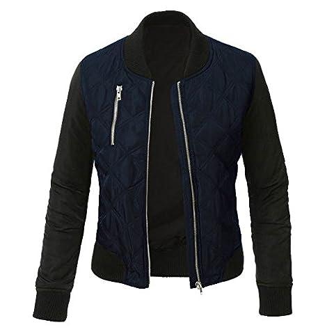 Minetom Femme Mode Coutures Chaud Blouson Cool Bomber Veste Aviateur Classique Matelassé Vintage Manteaux Jacket Coat Biker Moto Zipper Courtes Bleu FR 38