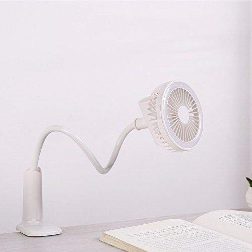 Preisvergleich Produktbild YJIUJIU USB-Lade-Nachtlicht Elektrische Lüfter, Tragbare Desktop-Clip-Fan 360 Grad Twist/1500 Mah,White