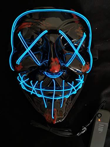 SOUTHSKY Nueva LED Mask V Vendetta Mascara con la Moda Brillante, luz Azul para el Partido,Máscara de luz LED