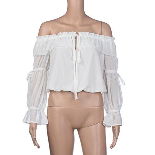 Sannysis Damen Sommer Ernte Tops Off Schulter Chiffon Bluse Weiß