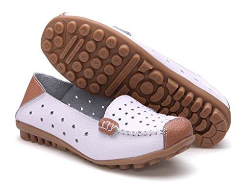 Minetom Donne Moda Loafer Scarpe Hollow Mocassino Pantofole Tallone Piano Estate Scarpe Bianco