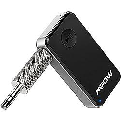 Mpow Receptor Bluetooth 4.0 Audio Adaptador de Música Inalámbrico y Manos Libres Kits de Coche de Llamada con Salida Estéreo de 3,5 mm para Casa y Sistema de Audio Estéreo de Coche