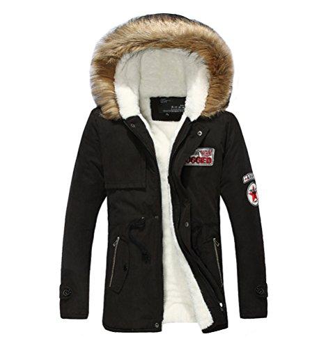 MILEEO Herren Jacke Kapuze Winterjacke Winter ManteL Jacket Junge Warm Parka Westen Hoodie Lang Baumwolle Schwarz
