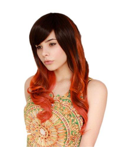 Prettyland C429 – 60cm Perruque longue ondulée orange-rouge & marron-noir