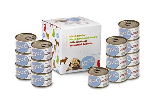 ADOC Cibo Umido per Cani con Ingredienti Naturali al 100% - Multipack da 12 Lattine 170 Gr con Tonno Orientale e con Pollo e Manzo - 12 Lattine