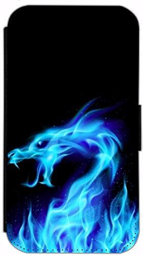 Flip Cover für Apple iPhone 6 / 6S (4,7 Zoll) Design 220 Drache Dragon Feuer Schwarz Hülle aus Kunst-Leder Handytasche Etui Schutzhülle Case Wallet Buchflip mit Bild (220) 199