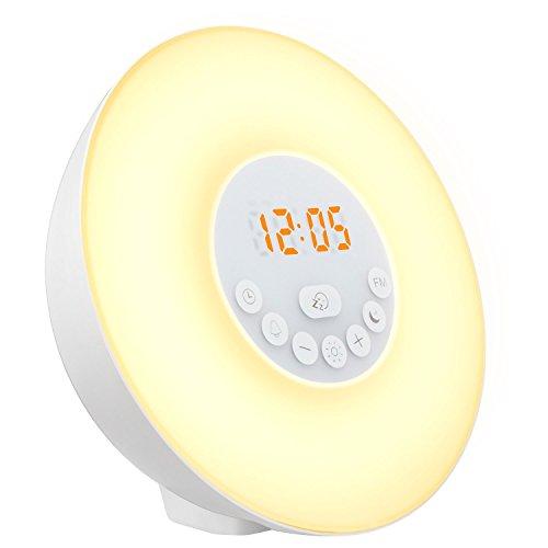 Luz Despertador,Mospro Alarma Con Repetición De Luces Nocturna Con LED Digital,6 Sonidos Naturales,Radio FM,Control Táctil