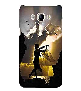For Samsung Galaxy J5 2016 :: Samsung Galaxy J5 2016 J510F :: Samsung Galaxy J5 2016 J510FN J510G J510Y J510M :: Samsung Galaxy J5 Duos 2016 girl with guitar, girl play guitar, cloud, bird Designer Printed High Quality Smooth Matte Protective Mobile Pouch Back Case Cover by BUZZWORLD