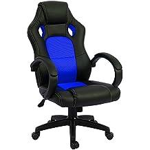 ISE Silla de escritorio de oficina de PU, Racing,asiento giratorio del escritorio del ordenador, Silla Regulable en Altura, azul