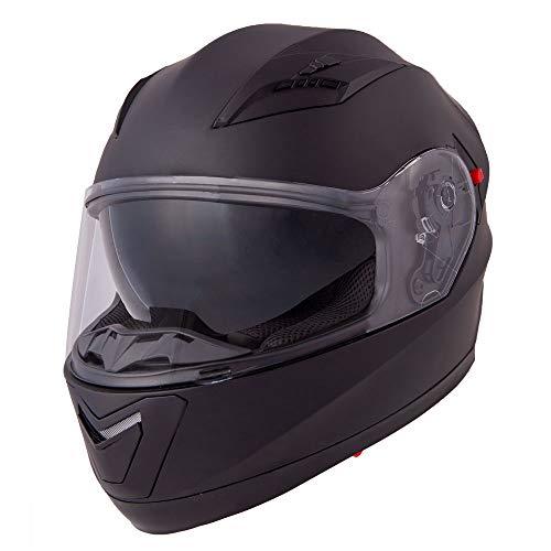 Vinz Integralhelm/Rollerhelm | Motorradhelm in Gr. S-XL | Integral Helm mit Sonnenblende (XL (61-62 cm), Mattschwarz)