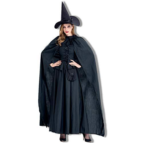 Body Tanz Kostüm Bag - YCLOTH Halloween Kostüm, New Witch Cosplay Bühnenkostüm, Black Witch Nightclub Party Anzug, Hut + Tube Top Taille + Einteiliges Kleid + Umhang-black-S