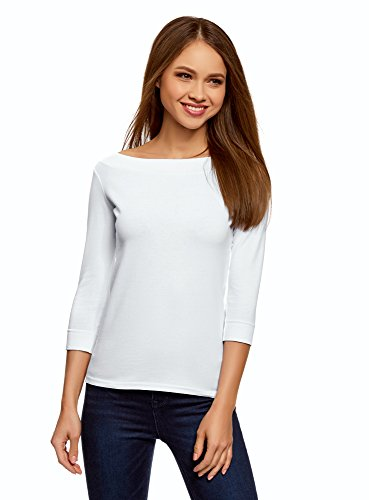 oodji Collection Damen T-Shirt mit 3/4-Arm, Weiß, DE 32/EU 34/XXS (T-shirt Frau Weißem Armee Mit)