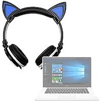 DURAGADGET Auriculares Plegables estéreo con diseño de Orejas de Gato en Color Negro para Portátil Chuwi