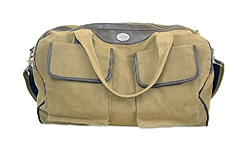 NCAA West Virginia Mountaineers Men's Canvas Concho Duffel Bag, Khaki, One Size