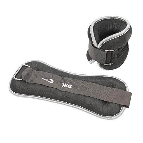Fitness Mad Wrist/Ankle Weights, Neo Cinturino da Polso/Caviglia Unisex-Adult, Grey, 2 x 1 kg