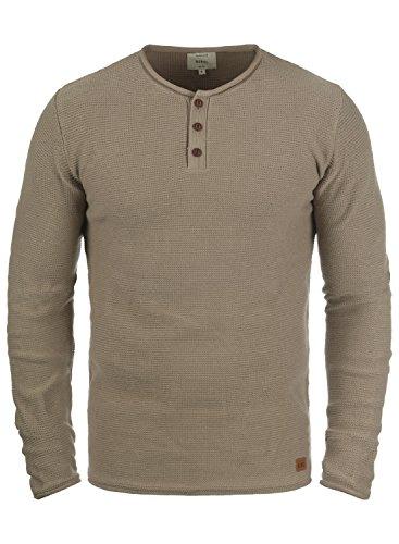 Redefined Rebel Milford Herren Strickpullover Feinstrick Pullover Mit Rundhals Und Knopfleiste Aus 100% Baumwolle, Größe:L, Farbe:Faded Brown