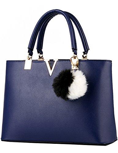 CUKKE Damen Handtasche Marken Handtaschen Elegant Taschen Shopper Reissverschluss Frauen Handtaschen Diamon-Blau