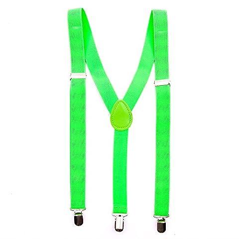 Bunte Neon & Uni Farben - Y - Hosenträger mit 3 Clips Party Business (Neon Grün)