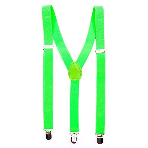 & Uni Farben - Y - Hosenträger mit 3 Clips Party Business (Neon Grün) ()