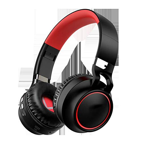 Gaming-Headset Leuchtendes Headset Bluetooth-Headset Stereo-Sport-Laufcomputer-Headset LED-Mehrfachlicht, Soft-Memory-Ohrenschützer, for Gaming (Color : Red)