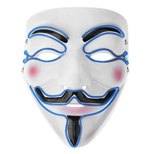 Halloween-Werkzeuge Halloween LED Maske, Cosplay Glow Scary V Vendetta LED Phantasie Maske Fashion Shining Leuchten Unisex Maske ELGlowing Wire Halloween Festival Parteien Kostüm