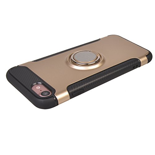 "Coque iPhone 7 ( 4.7""),COOLKE Haute qualité Etui Housse Robuste Protection de Double Couche d'Armure 360 Degrés Rotation Ring Holder Stand Protection case cover pour Apple iPhone 7 ( 4.7"") - Noir Or"