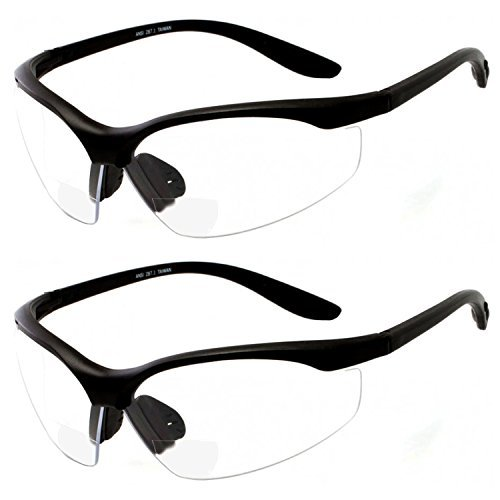 9445f550af 2 Pairs Bifocal Safety Glasses Clear Lens with Reading Corner - Non-Slip  Rubber Grip