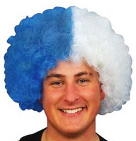 SCOTLAND ROYAL BLUE & WHITE SUPPORTER'S WIG - St. ANDREWS CROSS - SCOTTISH PARTY SALTIRE COLOURS - SCOTTISH SUPPORTER'S AFRO CURLY WIG - Top Quality Uni-sex Wig - One Size Fits All