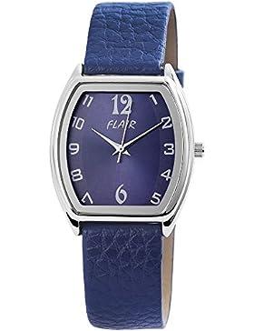 Damen Analog Armbanduhr mit Quarzwerk 100323000068 und Metallgehäuse mit Kunstlederarmband in Blau und Dornschließe...