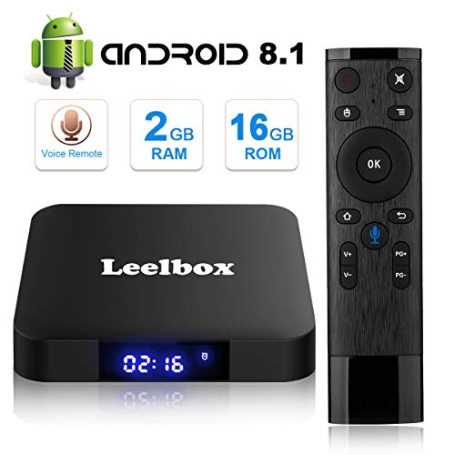 [Android 8.1 TV-Box] Leelbox Smart-TV-Box Q2 MINI Quad Core 2 GB RAM + 16 GB ROM/ 4K * 2K UHD H.265/ HDMI/USB * 2/ WLAN-Media-Player/Android-Set-Top-Box mit Voice-Fernbedienung