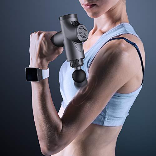 Pistola de Masaje Muscular, ABOX Masajeador de Músculos de Tejido Profundo con 20 Niveles Ajustables, 4 Cabez