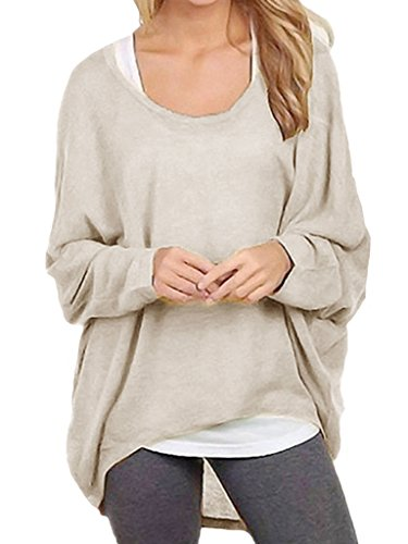 Cindeyar Asymmetrisch Pullover Pulli Oversize Strickjacke Longshirt Tunika Elegant Langarm Oberteile Tops T-shirt (XX-Large, Beige) (Strickjacke Pullover Beige)