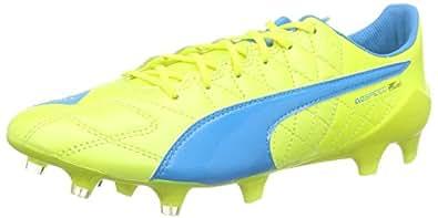 Puma Evospeed SL Lth FG - Chaussures de Football - Homme - Multicolore (Safety Yellow/Atomic Blue/White) - 39 EU (6 UK)