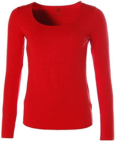 JETTE Damen Basic Langarm Shirt T-Shirt girocollo Rot
