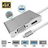 Lively Life Hub USB C 4 in 1, USB C to HDMI 4K, Dock Adattatore Tipo C con Porta DVI, Porta VAG, Porta USB 3.0 Compatibile per Dispositivi USB C per Proiettori di Monitor HDTV Argento